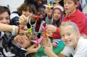 5th Graders learning origami at Marymount International School in Rome